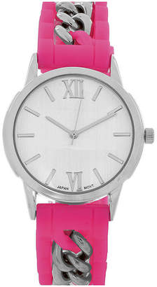 FASHION WATCHES Womens Silver-Tone Chain Pink Silicone Watch