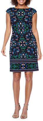London Times Cap Sleeve Pattern Sheath Dress