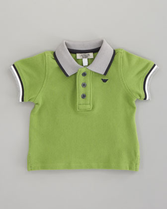 Armani Junior Striped-Trim Polo Green, Sizes 12-24 Months