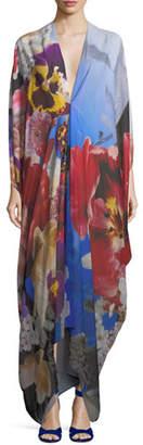 Roberto Cavalli Plunging Floral-Print Chiffon Caftan Gown