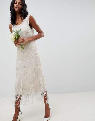 Asos Edition EDITION fringe embellished midi wedding dress with a low back