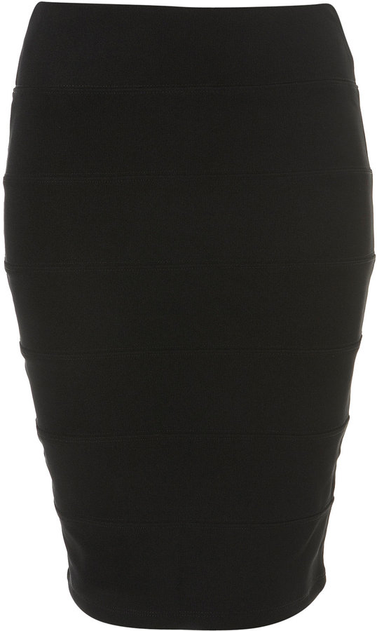 Black Panel Bodycon Pencil Skirt