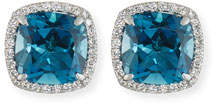 Frederic Sage 18K White Gold London Blue Topaz Diamond Halo Stud Earrings