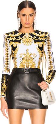 Versace Printed Bodysuit in Black & Yellow   FWRD