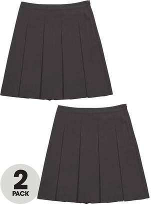Very Schoolwear Girls Classic Pleated School Skirts - Grey (2 Pack)