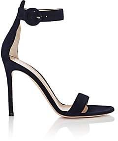 Gianvito Rossi Women's Portofino Suede Ankle-Strap Sandals - Denim