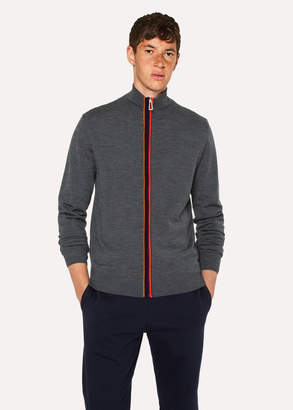 Paul Smith Men's Grey Zip-Through Funnel-Neck Cardigan