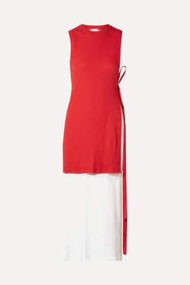 Rosetta Getty Layered Two-tone Cotton-jersey Midi Dress
