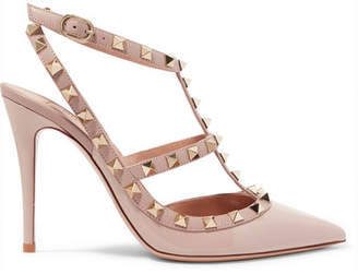 e29d5be792f Valentino Garavani The Rockstud Patent-leather Pumps - Baby pink