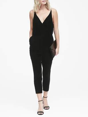 Banana Republic Velvet Cropped Strappy Jumpsuit