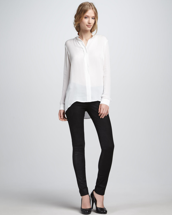 Vince Textured Leather Jeans, Black