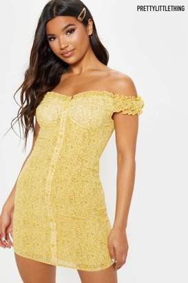 5b0b4d432 PrettyLittleThing Womens Ditsy Print Button Front Bardot Mini Dress - Yellow