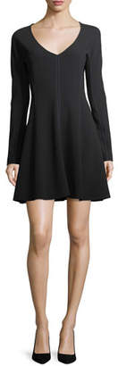 Diane von Furstenberg Long-Sleeve V-Neck Flare Dress