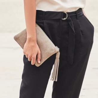 The White Company Suede Tassel Clutch Bag