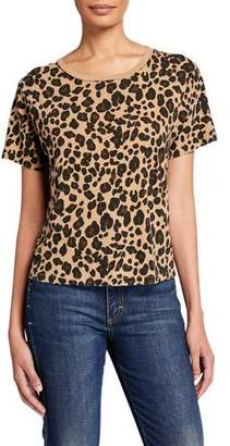 Amo Denim Leopard Short-Sleeve Cotton Tee