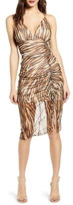 Socialite Animal Print Ruched Mesh Body-Con Dress