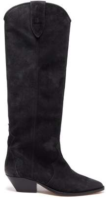 Isabel Marant Denvee Suede Knee High Boots - Womens - Black