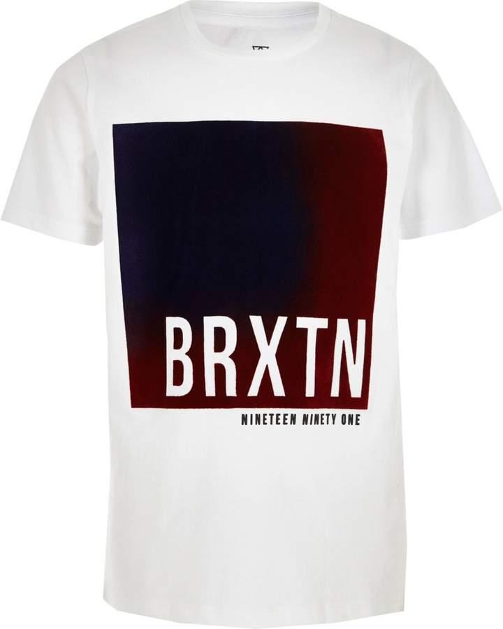 Boys White 'brxtn' velvet block T-shirt