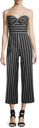 Veronica Beard Cypress Strapless Striped Wide-Leg Jumpsuit
