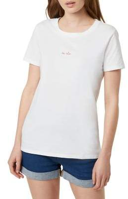 French Connection Be Nice Embroidered Tee
