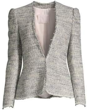 Rebecca Taylor Women's Puff Sleeve Tweed Jacket - Blue Grey - Size 0