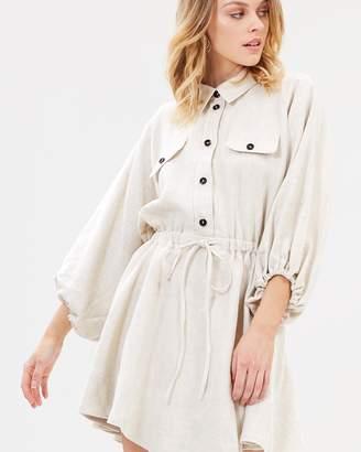 Shona Joy Linen Balloon Sleeve Shirt Mini Dress