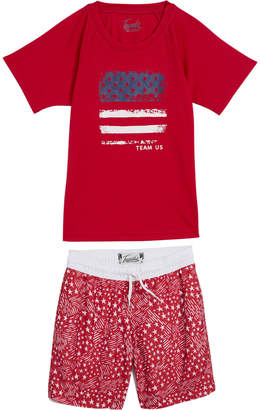 Trunks Surf & Swim Co. Little Boy's & Boy's Two-pPece Abstract Stars And Stripes Boys Swim Set