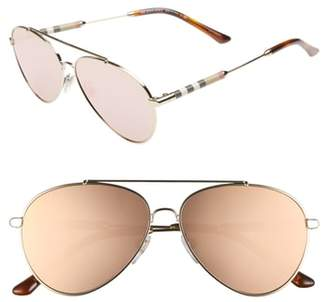 Burberry 57mm Mirrored Aviator Sunglasses