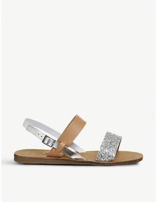 Office Honey slingback glittered leather sandals