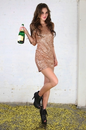 Lovers + Friends Sway Dress in Rosegold Sequins