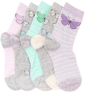 John Lewis & Partners Children's Pastel Butterfly Socks, Pack of 5, Multi