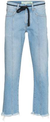 Off-White x Browns Diagonal stripe frayed denim jeans