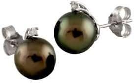 10-10.5MM Tahitian Pearl & Diamond Stud Earrings