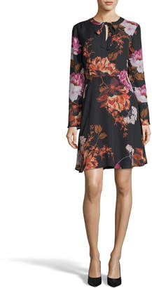 Label By 5twelve Floral Long-Sleeve Fit-and-Flare Dress