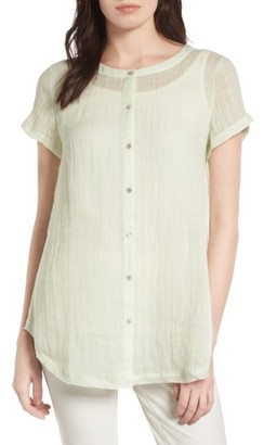 Women's Eileen Fisher Button Front Organic Linen Tunic $168 thestylecure.com