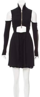 Versus Zipper-Accented Cold Shoulder Dress