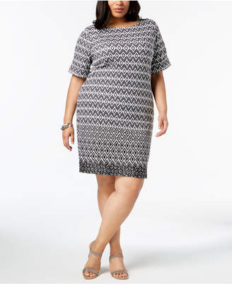 Karen Scott Plus Size Ikat-Print Sheath Dress, Created for Macy's