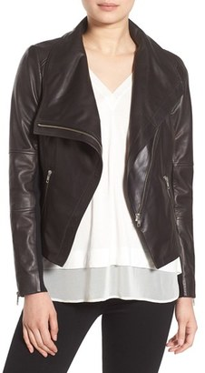Women's Trouve Drape Front Leather Jacket $329 thestylecure.com