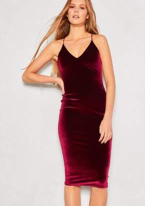Missy Empire Missyempire Jolie Wine Velvet Bodycon Midi Dress 0bed617c6
