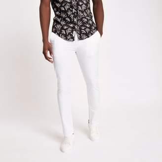 River Island Mens White skinny chino trousers