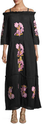Figue Noelle Off-the-Shoulder Embroidered Cotton Gauze Dress