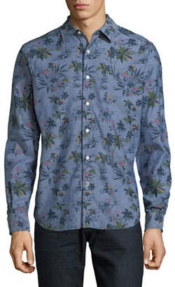 Nautica Palm Tree-Print Cotton Sport Shirt