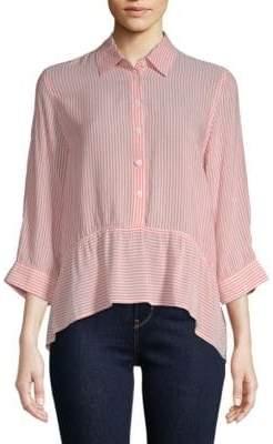 Saks Fifth Avenue Ruffle Stripe Shirt