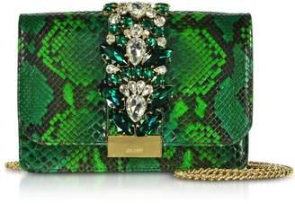 Gedebe Cliky Python Emerald Jungle Clutch W/crystals