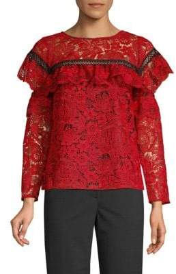 Red Carter Ruffled Lace Top