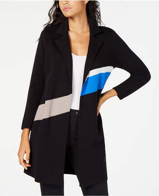 Alfani Colorblocked Trench Coat Sweater