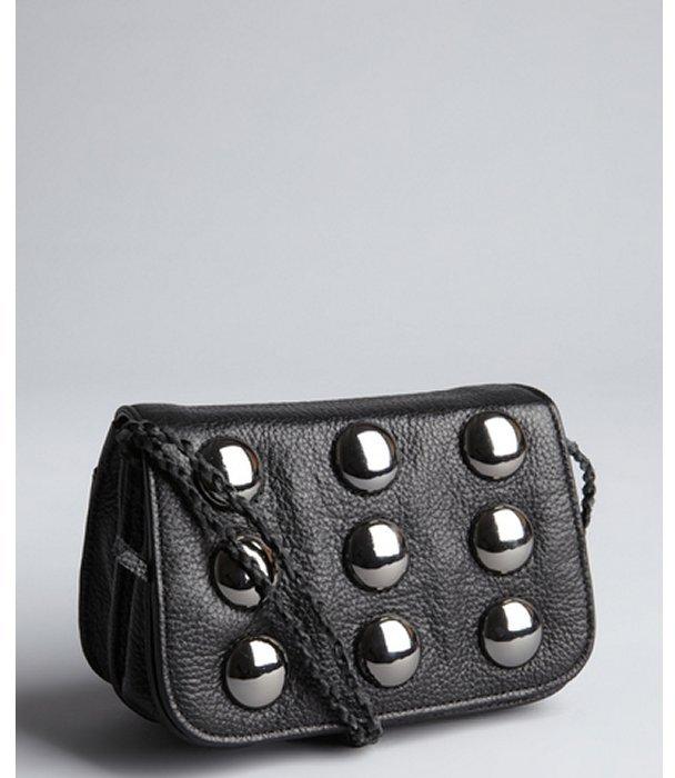 Kelsi Dagger black pebbled leather studded 'Tyler' small crossbody bag