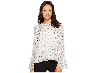 CeCe Long Sleeve Dotty Silhouettes Ruffled Blouse Women's Blouse