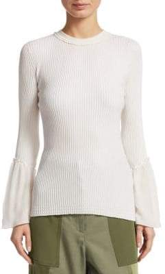 3.1 Phillip Lim Ribbed Chiffon Ruffle-Sleeve Sweater