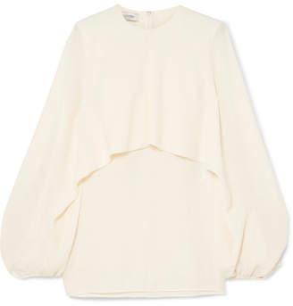 Valentino Cape-effect Silk-crepe Blouse - Ivory